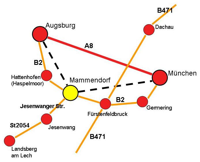 Anfahrt nach Mammendorf